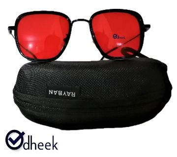 Metal Frame Sunglass for Men Red With Travel Pouch