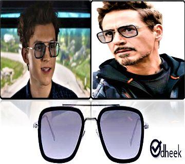 Tony Stark Ironman Sunglass Silver Frame Balck Lens