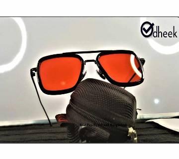 Tony Stark Ironman Sunglass Silver Frame Red Lens