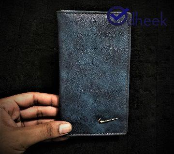 Nike Logo Artifical Leather Blue Long Wallet for Men Mobile Cover Card Holder