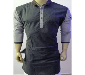 Semi long Cotton Punjabi for men-black