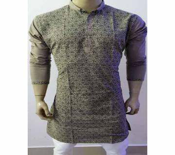 Semi long Cotton Punjabi for men-coffee