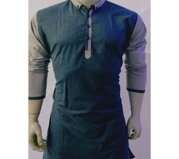 Semi long Cotton Punjabi for men-red balck-blue