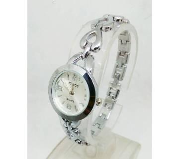 black metal bracelet watch