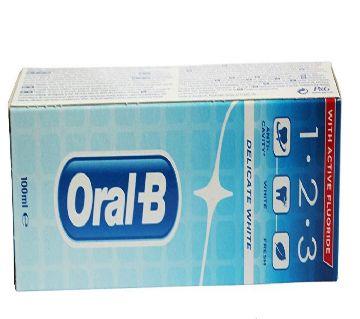 Oral-B 100ml টুথপেস্ট 123 Delicate White - UK