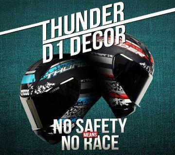 Studds THUNDER D1 DECOR (Matt Finish) Motorbike Helmet  (Matt Black Blue)
