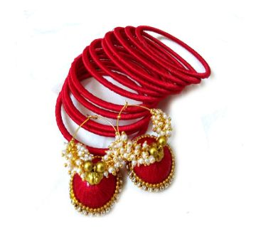 silk thread earring and bangles