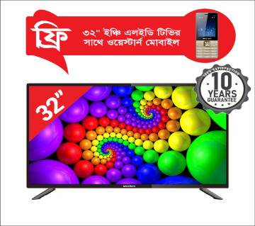 WESTERN LED TV 32 INCH(DOUBLE GLASS)WI-32DN3(FREE MOBILE PHONE)
