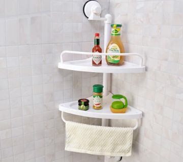 2 Layer Corner Shelf Bathroom Kitchen Suction ওয়াল র্যাক শাওয়ার স্টোরেজ র্যাক