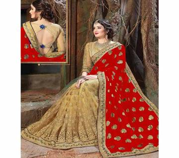 Indian Georgette Red Party Wear Sharee
