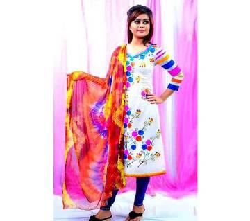 Unstitched hand printed Rajdhani voyel cotton Salwar Kameez stblock-306