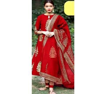 unstitched skin printed Rajdhani voyel cotton  salwar kameez St block-195