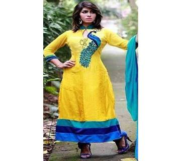 Unstitched block printed Rajdhani voyel cotton Salwar Kameez St block-245