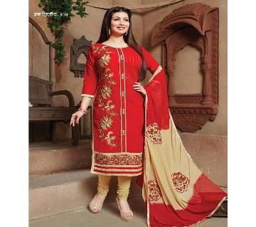 Unstitched block printed Rajdhani voyel cotton Salwar Kameez St block-370