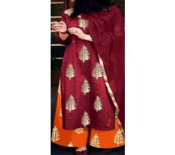 Unstitched block printed Rajdhani voyel cotton Salwar Kameez St block-491