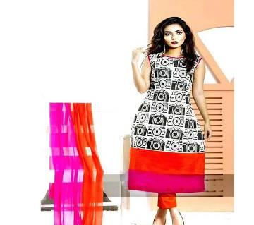 Unstitched block printed Rajdhani voyel cotton Salwar Kameez St block-495