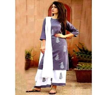 unstiched rajdhani voyel block printed cotton salwar kameez St block-906