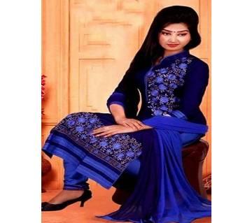 Unstitched block printed Rajdhani voyel cotton Salwar Kameez stblock-104