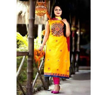 Unstitched block printed Rajdhani voyel cotton Salwar Kameez stblock-204