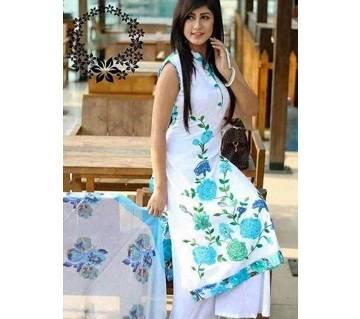 Unstitched block printed Rajdhani voyel cotton Salwar Kameez stblock-262