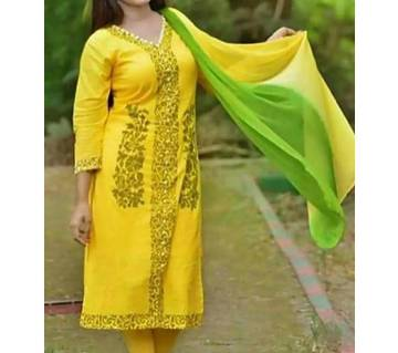 Unstitched block printed Rajdhani voyel cotton Salwar Kameez stblock-273