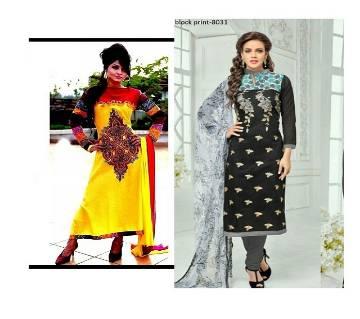 2 set combo Unstiched block printed Rajdhani voyel cotton salwar kameez