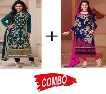 Unstitched Block Printed Voyel Cotton Salwar Kameez - Copy (2 Pieces) Combo Offer