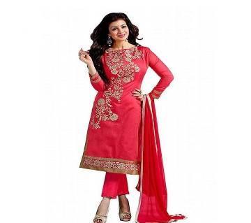 Unstitched block printed Rajdhani voyel cotton Salwar Kameez St block-255