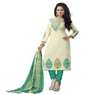 Unstitched block printed Rajdhani voyel cotton Salwar Kameez St block-8034