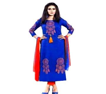Unstitched block printed Rajdhani voyel cotton Salwar Kameez St block-487