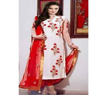 Unstitched block printed Rajdhani voyel cotton Salwar Kameez St block-397