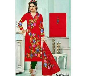 Un-stitched Rajdhani Voyel Cotton Hand print Salwar kameez St block-924 - Copy