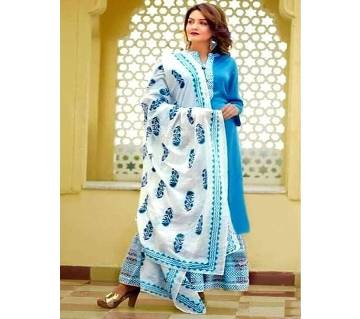 Block Printed 3 pieces Salwar Kameez for Women- Sky Blue
