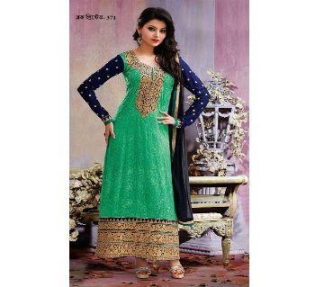 Unstitched block printed Rajdhani voyel cotton Salwar Kameez stblock-371
