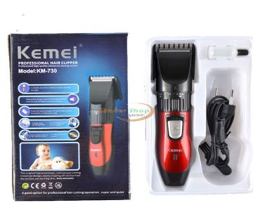 KM-730 Rechargeable Electric Hair Trimmer - Red