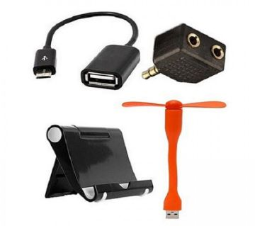 Combo Of Multi Mobile Stand, Headphone Jack, Micro USB OTG Cable & USB Fan