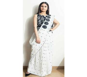 Chanderi Cotton Sharee- Off White With Black Dots Design