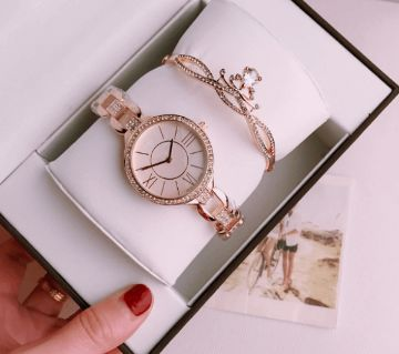 Swarovski Rose Gold Ladies Watch With Bracelet