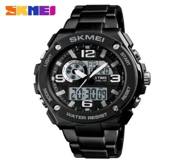 Analog Digital Skmei Watch Black Chain For Men