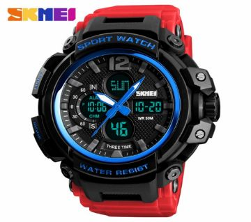 Analog Digital Skmei Watch Red Belt Black Design For Men