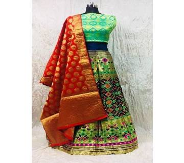 Semi Stitch Banarasi silk lehenga 106 Navy Blue Lehenga with Gold Multi Design Pink Gold design Dupatta-
