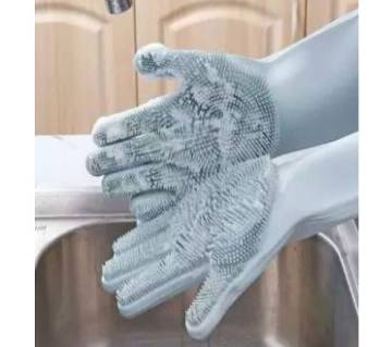 Silicone Cleaning Gloves with Wash Scrubber Reusable Brush Dish (Multi Color)- DNM
