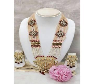 Royal Kundan Necklace-Feather White