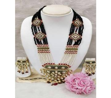 Royal Kundan Necklace-Raven Black