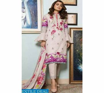 ZS SAHIL PRE WINTER Lawn DRESSES Embroidered Printed Cream with Violet Three Piece