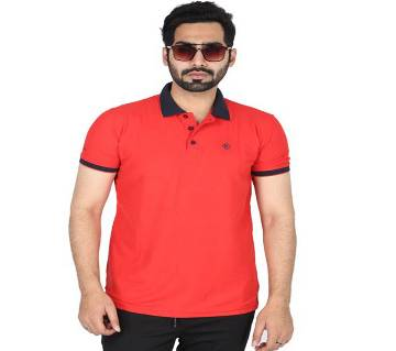 Men Half Sleeve Red Polo Shirt