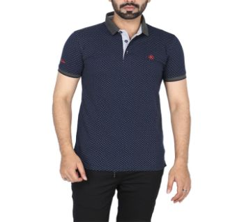 Mans Navy Blue All over print Polo Shirt KPS-201