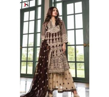 আনস্টিচড থ্রি পিস Deepsy Gulbano Georgette Pakistani Style Vol-7 Premium Suits 400-807 Chocolate with Cream-NON1582-5U7O 4807 1A00