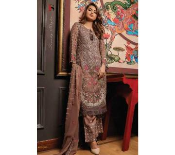 Unstitched Three Piece Deepsy Gulbano Georgette Pakistani Style Vol-7 Premium Suits 400-803 Brown with Rose Work-NON1578-5U7O 4803 1A00