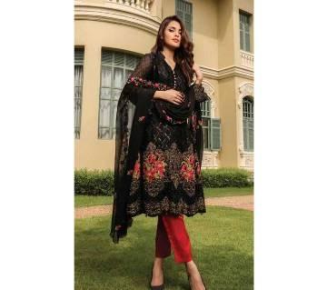 আনস্টিচড থ্রি পিস Deepsy Gulbano Georgette Pakistani Style Vol-7 Premium Suits 400-805 Black with Rose work-NON1580-5U7O 4805 1A00